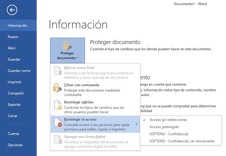 Proteger archivos importantes desde Office - Parte II (IRM)