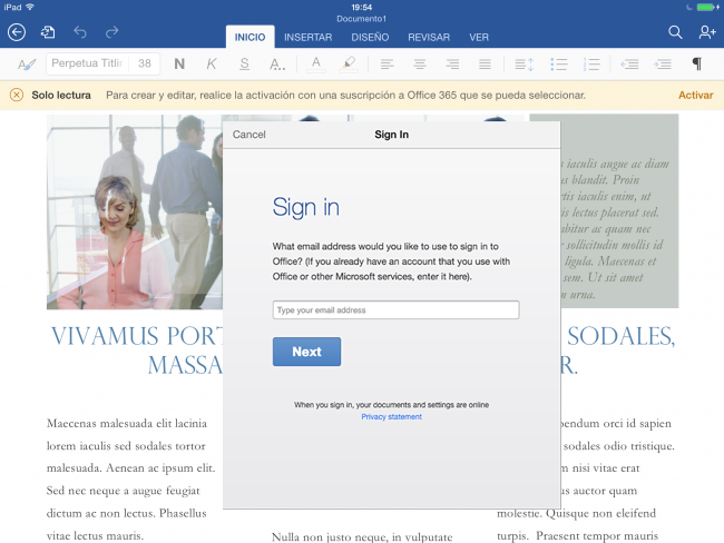 Cómo activar Office 365 en iPad
