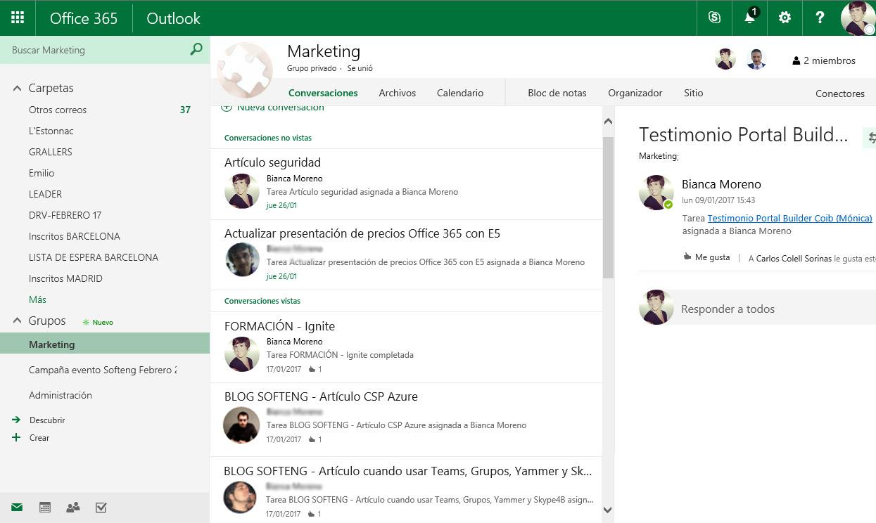 Trabajando con las herramientas de colaboración de Office 365